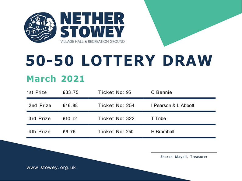 Nether Stowey 50-50 Lottery March 2021