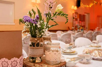 Nether Stowey Village Hall Table settings for a wedding